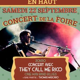22 septembre : Concert de la Foire – They Call Me Rico